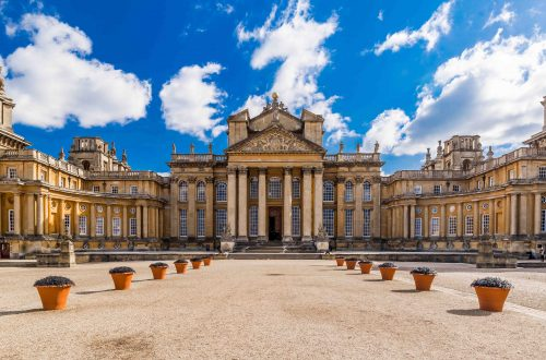 Exterior of Blenheim palace in Oxfordshire, United kingdom