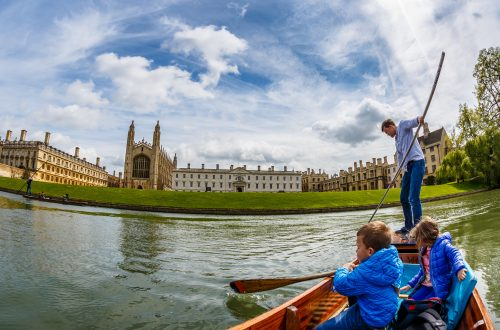 Family punting in Cambridge, England