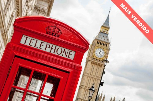 Red telephone box near Big Ben. London, England
